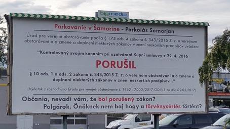 Moderny Samorin pre vsetkych platene parkovanie problemy zakon o verejnom obstaravani billboard