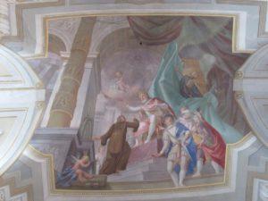 Moderny Samorin pre vsetkych rimsko-katolicky kostol Nanebovzatia Panny Marie sv. Frantisek z Paoly stropna malba